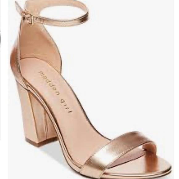 Rose Gold Block Heel Sandals | Poshmark